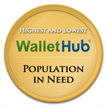 WH Cities with the Highest and Lowest Population in Need Badge