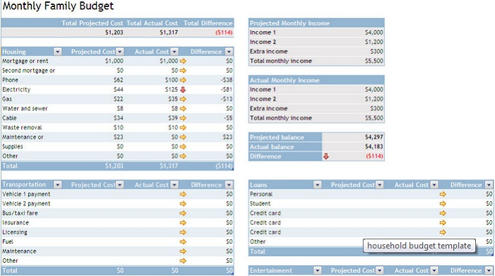 simple excel budget template