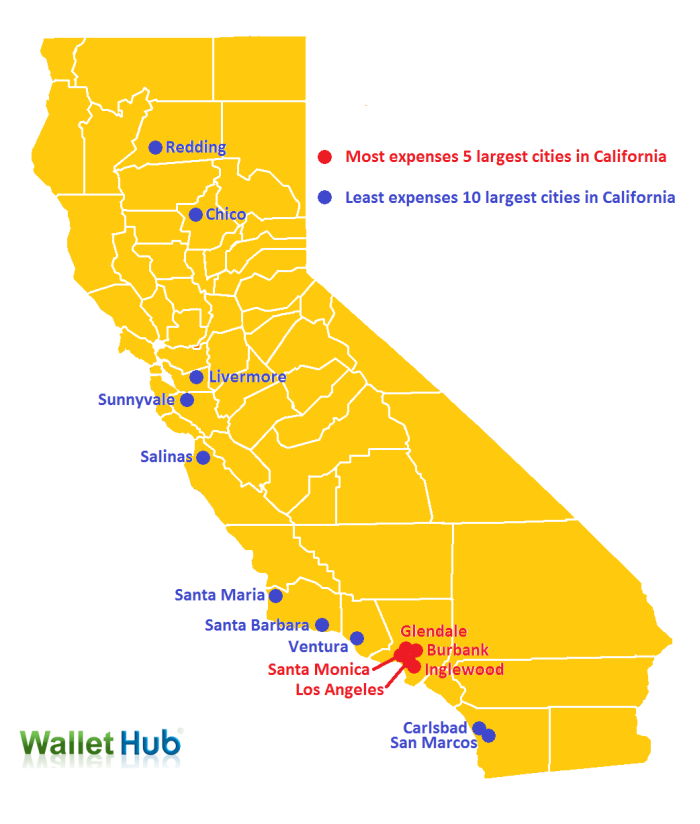 California Car Insurance Landscape Report WalletHub - California map with cities