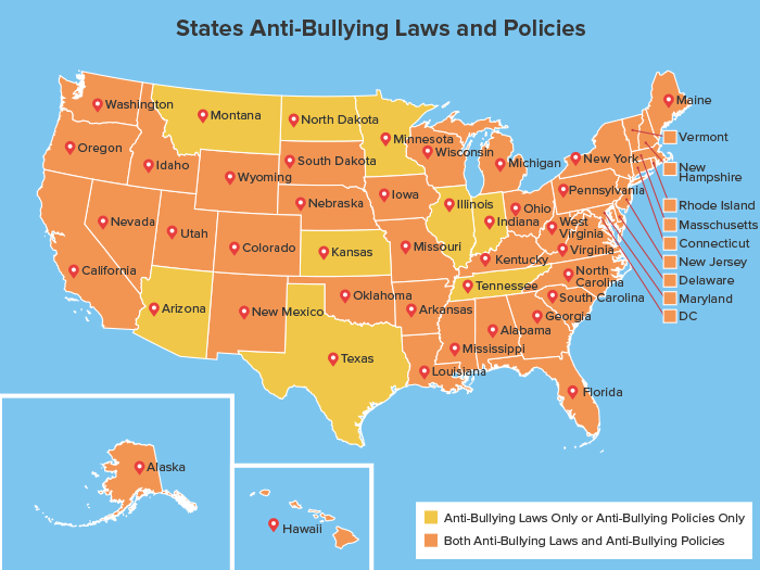 States with the Highest and Lowest Level of Bullying Map